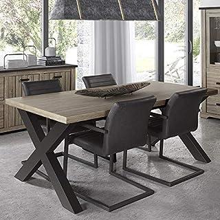 NOUVOMEUBLE Table 220 cm contemporaine Couleur Bois et Anthracite Lewis