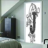 AGKMLP Sticker Porte Effet 3D Belles Lettres Auto-Adhésif Peintures Murales Décoration De La Maison Stickers Muraux Art...
