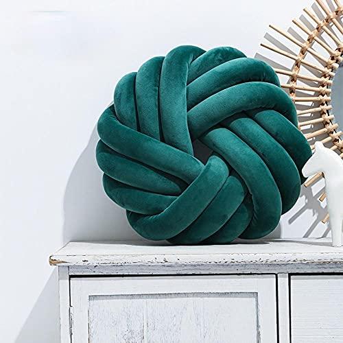 YZGSBBX Sencilla almohada de algodón con nudo de mano para el coche, cojín lumbar, cojín decorativo para el hogar, sofá de oficina, cojín de peluche (color verde oscuro)