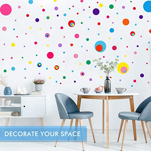 264 Pieces Polka Dots Wall Sticker Circle Wall Decal for Kids Bedroom Living Room, Classroom, Playroom Decor Removable Vinyl Wall Stickers Dots Wall Decals, 8 Different Size (12 Colors)