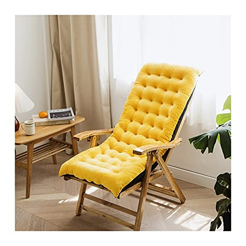 ZCXBHD Furniture Patio High Seat Back Chair Cushion For Rocking Chair Jumbo Thick Padded Chaise Lounger Swing Bench Cushion Recliner(Does Not Include Chairs) (Color : Yellow, Size : 100 * 40 * 8cm)