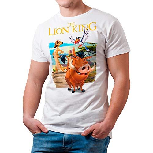 Camiseta Cine Hombre - Unisex El Rey León, Timón y Pumba (Blanco, XXL)
