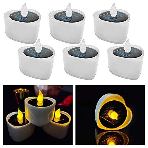 LED Kerzen, 6 Stück Solar Kerzen Außen Interior Solar Teelichter Wasserdicht Flammenlose Kerzen Solarleuchte Teelichter Nachtlicht für Partei Hochzeit Festival Dekoration (warmes Gelb)