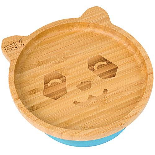Teller mit Saugnapf, Fütterteller für Baby / Kleinkind, in Pandaform, aus natürlichem Bambus