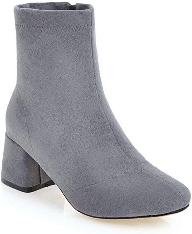 BalaMasa Womens Chunky Heels Zipper Imitated Suede Boots ABL11002