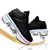 Dytxe Zapatillas con Ruedas, Niños Niña Led Luces Zapatos 7 Colores Luminosas Flash Zapatos De Roller 4 Rueda Patines Deportivo Al Aire Libre Gimnasia Zapatos De Skateboard con USB Carga
