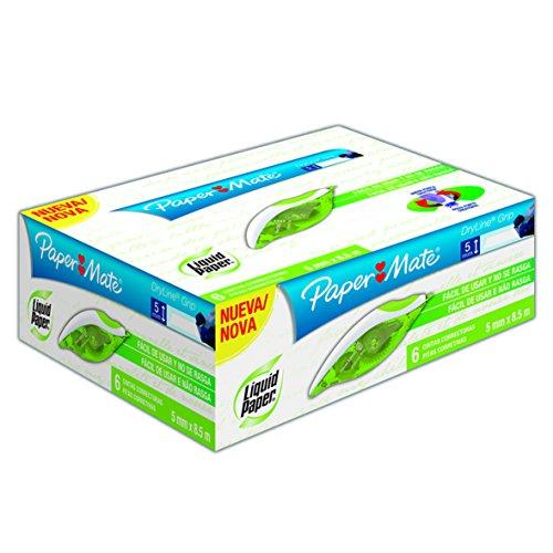 Paper Mate M17400110308 Liquid Paper Corrector en Cinta con Diseño Ergonómico de 5mm x 8.5 m