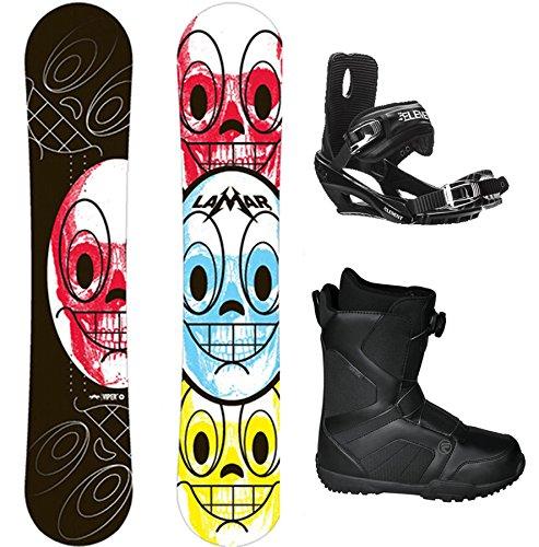 Lamar Viper Skulls Complete Snowboard Package+Bindings+Flow BOA Boots Board Size 151 (Boot Size 11)