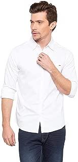 Spykar White Solid Cotton Shirt