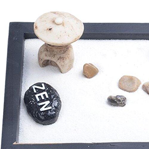 MagiDeal Japonais Karesansui Mini Zen Jardin de Table avec Râteau Cailloux et Sable Décoration Maison Bureau - #01, 15*11*1cm