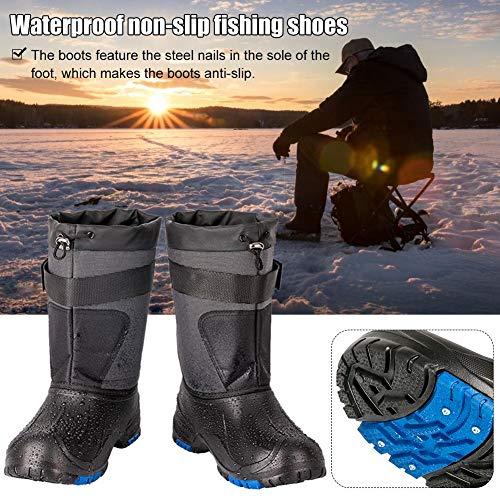 Botas de pesca impermeables para hombres,Bloomma botas impermeables de invierno con aislamiento antideslizante para actividades al aire libre de pesca en hielo