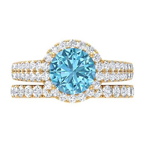 Conjunto único de anillos de novia, piedras preciosas redondas de 3,82 quilates, anillo de compromiso D-VSSI moissanite 8 mm aguamarina, anillo de oro con piedra lateral, 14K Oro