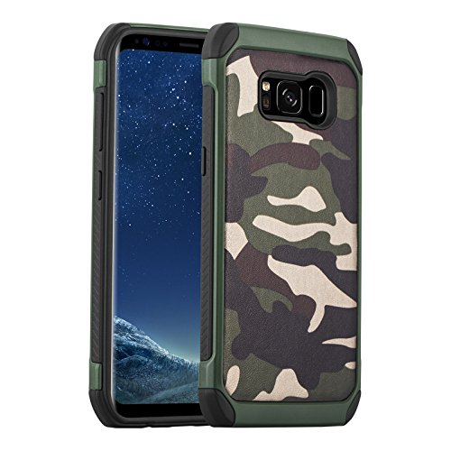 JammyLizarD Camouflage Hülle für Samsung Galaxy S8   Outdoor-Schutzhülle [Army HD] Military Hülle aus Silikon & Leder mit Tarnmuster, Grün