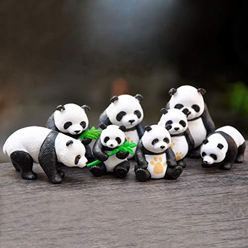 HANTURE Juego de 8 figuras de panda para decoración de tartas, diseño de panda en miniatura de resina, mini adornos de hadas de panda para decoración de macetas, bonsái, paisaje