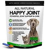 Happy Joint 100% Natural Cuidado de las Articulaciones Para Perros y Gatos - 160 Raciones con Cúrcuma y Mejillón de Labios Verdes - Mejor que los Suplementos Para las Articulaciones con Glucosamina