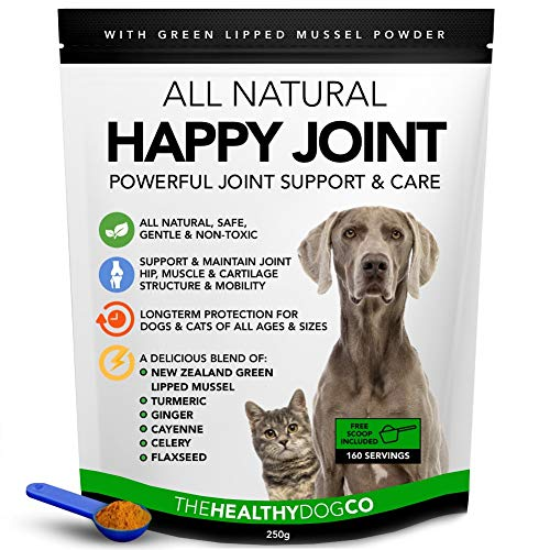 All Natural Joint Care For Dogs & Cats - Happy Joint - 160 Servings - Hip & Joint Aid With New Zealand Green Lipped Mussel & Turmeric - Stronger & Healthier Than Glucosamine Dog Joint Supplements