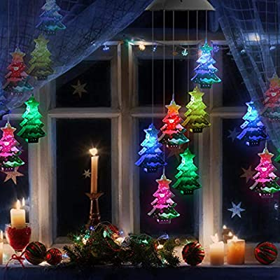 Lampelc Solar Wind Chimes, Christmas Tree Color Changing LED Wind Chime, Solar Powered Garden Night Light Xmax Ornaments Christmas Decorations Gardening Gift,Memorial Wind Chime