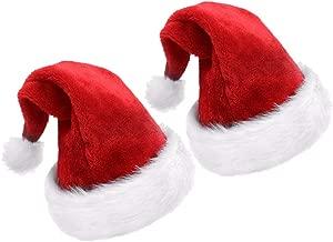 Kinteshun Christmas Santa Hat,Thickened Double-layered Luxury Plush Adults' Santa Claus Xmas Cap Hat(2pcs)