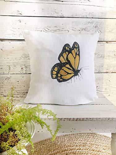 DKISEE Funda de almohada cuadrada de lino y algodón de 66 cm suave funda de cojín amarillo monarca mariposa