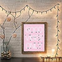 キャンバスペインティング ポジティブな引用キャンバス絵画良い雰囲気のみ引用印刷ネオンライトサインインスピレーションを与えるポスターピンクの壁アートホームルームの装飾 50x75cm