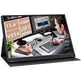 Portable Monitor, Geoyeao 2021 Newest 15.6'' 1080P 178°IPS 60Hz USB Type-C/Mini HDMI Dual Computer/PC/Gaming Monitor, Compatible with Laptop/PC/PS4/Xbox/Switch/Phone/DSLR/TV Stick/DVD Player