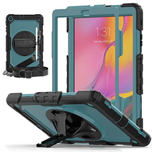 TGOOD Samsung Galaxy Tab A 10.1 (SM-T510 /T515/T517) 2019 Case with Built-in Screen Protector,360° Kickstand &Shoulder Strap,Rugged Cover for Galaxy Tab A 10.1 2019 Release-NavyBlue