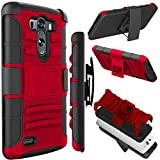 LG G3 Case (5.5 inch), Zenic(TM) Hybrid Dual Layer Armor Defender Full-Body Protective Case Cover with Kickstand & Belt Clip Holster Combo for LG G3 (Red/Black)