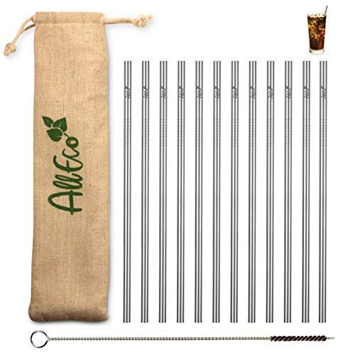 AllEco® Strohhalm wiederverwendbar Edelstahl 12er Set + Reinigungsbürste + Eco-Beutel - Premium-Qualität, umweltfreundlich, nachhaltig, wiederverwendbar & plastikfrei (12 gerade)