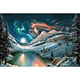 EUpMB De diamante 5D de punto de cruz, DIY Diamond pintura arte completo taladro,Hermoso lago de nieve30x40cm,para el hogar decoración de la pared。