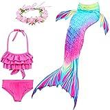 VALICLUD 4 Piezas de Traje de Baño de Cola de Sirena para Niñas con Diadema de Flores Bikini Traje de Baño Traje de Baño para Niños Regalo de Cumpleaños para Niños Pequeños