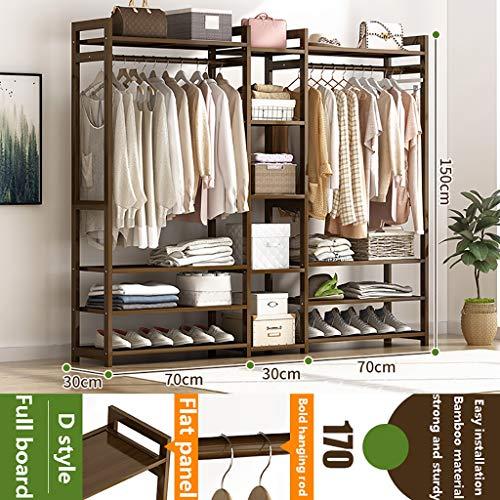 Perchero de pie Perchas para el hogar de pie de material de bambú, bastidores de abrigos, fáciles de ensamblar y ahorrar espacio, rieles de ropa moderna con una altura de 150 cm, almacenamiento de múl