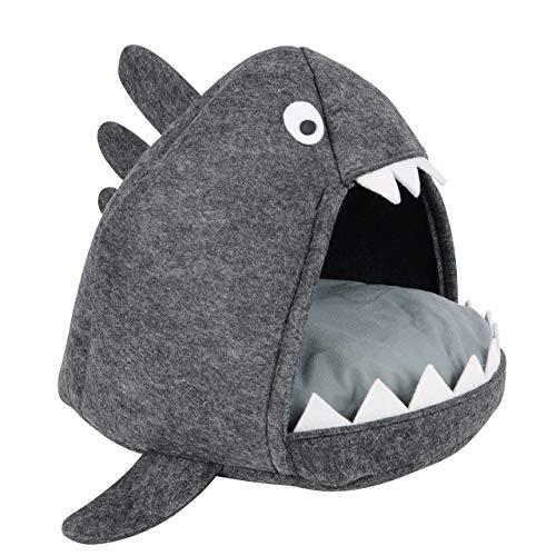 UNUS Katzenhöhle/Katzenkorb Hai in anthrazit inkl. weichem Kissen zum Schlafen und Kuscheln