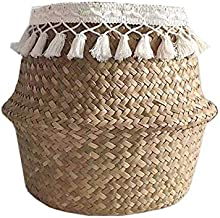 Clothes hamper Seagrass Woven Storage Baskets Wicker Basket Garden Potted Foldable Flower Vase Storage Pot Laundry Basket ...