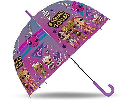 Lol Surprise Paraplu, transparant, 19 inch (19 inch), automatisch, glasvezel, voor kamperen en wandelen, kinderen, unisex, meerkleurig (meerkleurig), eenheidsmaat