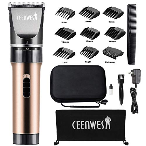 Ceenwes Hair Clippers Cordless Quiet Hair Trimmers Rechargeable Body Hair Removal Machine with 9 Combs&Carrying Bag for...