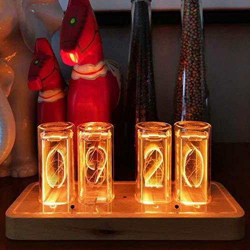 PAKASEPT Nixie Tube Clock, Kreative Digitaluhr,LED Digitale Massivholz Tischuhr, USB Typ C,Röhrenuhr, Nixie Uhr für Familie und Freunde (Single Color 4)