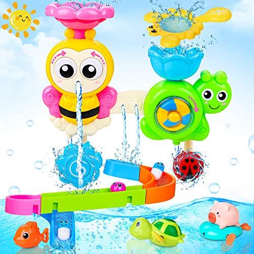 LETOMY Jouets de Bain pour bébé, 10 pièces Jouet de Bain Cascade, pour Baignoire Jeu de Piscine Jouet De Douche Interactif Animal Bain Jouets Set Jeux Montessori Circuit pour Bébé et Enfants Cadeau