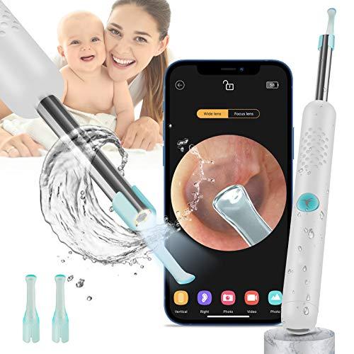 Otoscopio BEBIRD Endoscopio Camara Endoscopica 1080P FHD Otoscopio WIFI con 6 LED limpiador de cera de oído para niños, adultos y mascotas Ajustables para iOS Android Tabletas (Blanca)