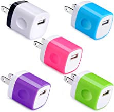 USB Wall Charger, UorMe 1Amp 5V Single Port Wall Charger Adapter USB Plug Cube Block Box 5 Pack Compatible with Phone Xs XR X 8 7 6S 6 Plus 5, Samsung S10 Plus S9 S8 Note 9 8 S7 Edge, LG, Nexus, Moto