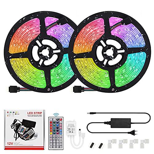 Tiras LED Houkiper 12v, Luces LED RGB de 10m con Control Remoto y Caja de Control, 20 Colores y 8 Modos de Luz LED Impermeables, Luces Led Iluminacion para Decoración de Dormitorios [A ++]