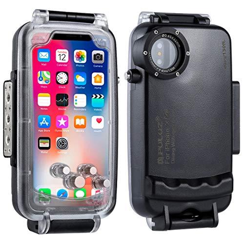 PULUZ - Funda impermeable para iPhone X/iPhone XS 40 m, resistente al agua, protección contra golpes, nieve, suciedad, IP68, resistente y sellado completo, carcasa subacuática, color negro