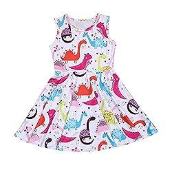4. YOUNGER TREE Cartoon Dinosaur Print Princess Party Dress
