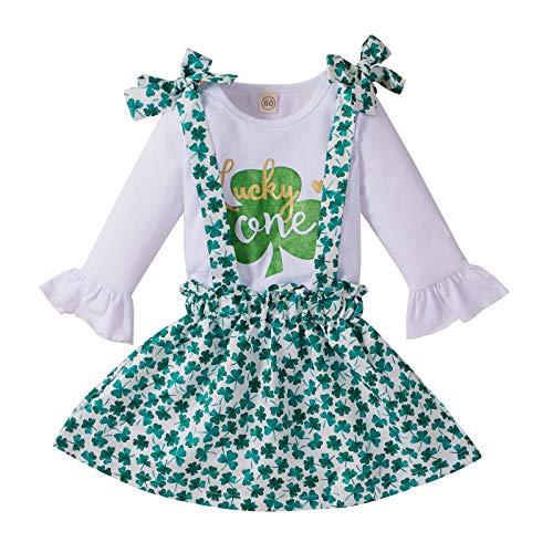 St. Patrick's Day Baby Mädchen Riemen Rock 2 Stück Kleinkind Kinder Mädchen Streifen Kurzarm Crewneck T-Shirt Tops + Mini Rock Fest Partei Vierblättriges Kleider Outfit Set