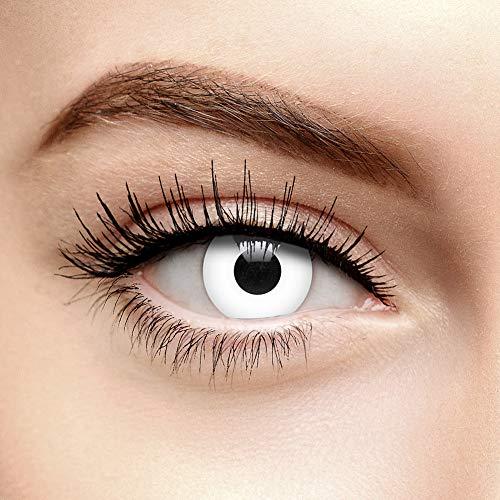 I-Glow Zombie Halloween Farbige Kontaktlinsen ohne Stärke UV Weiß (90 Tage)