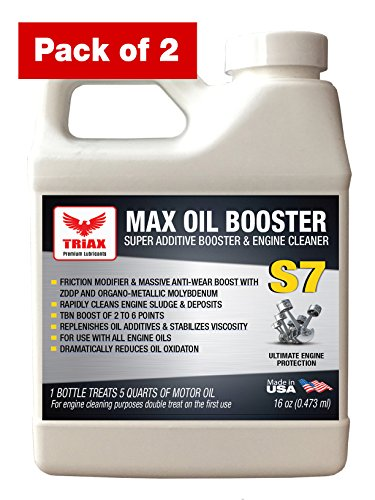 Triax S7 MAX Oil Booster - Engine Sludge Cleaner, TBN Booster, Friction Modifier, Viscosity Stabilizer, Oxidation Inhibitor - All in One. (Pack of 2 x 16 oz)