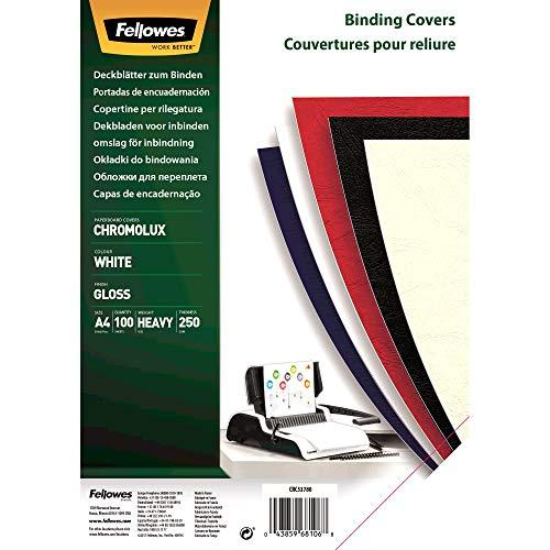 Fellowes 5378006 Präsentationsdeckblatt Chromolux Karton mit Lederstruktur, A4, 250 g/m², 100 Stück, weiß
