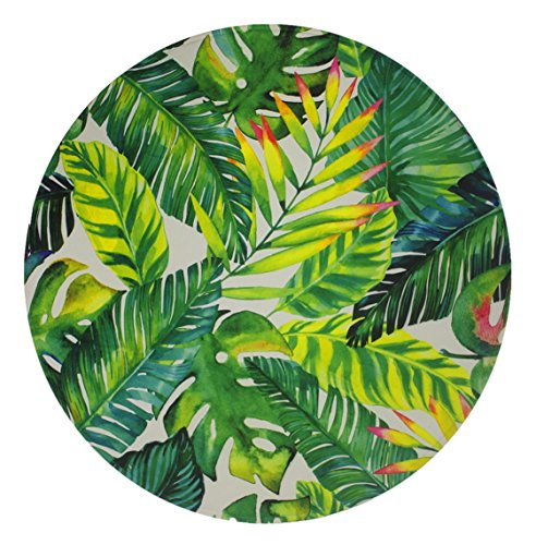 Goodbath Banana Leaf Round Area Rug, Tropical Palm Leaves Design Non-slip Fabric Round Rugs for Bedroom Living Room Study Room Kids Playing Floor Mat Carpet, 4 Feet, Green White