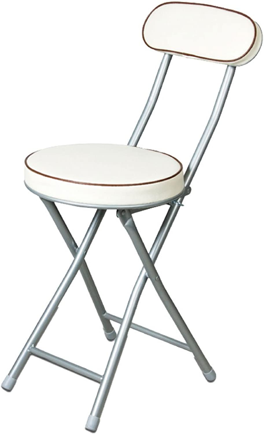 CQOZ Japanese-Style Back Stool Folding Chair Small Round Chair Portable Leisure Computer Chair Office Dining Chair Folding Chair (color   White)