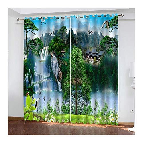 KnSam - Juego de 2 cortinas de poliéster 98 % de luz, con ojales, 214 x 138 cm, color verde