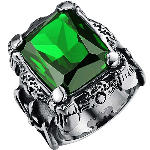 XAHH Men's Stainless Steel Square Large Stone Green Crystal Vintage Punk Ring Dragon Claw Celtic Knot Band Size 11